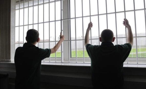 Polmont young offenders institiution July 2008 priasoners at window bars